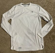 Under Armour Cold Gear Fitted Long Sleeve Base Layer Top Mens Medium White
