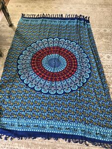 """Large Floral Blue Tapestry - 40"""" X 64"""" - Great"""