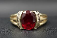 10K Solid Yellow Gold 2.5ct Ruby Melee Diamond Accent Ring Size 8.75 RG743