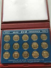 More details for 1953-1967 complete set of queen elizabeth brass threepences