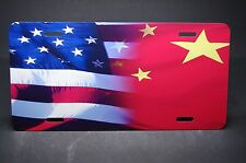 CHINESE AMERICAN FLAG METAL LICENSE PLATE FOR CARS    中國國旗
