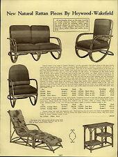 1937 PAPER AD 5 PG Karpen Haywood Wakefield Natural Rattan Furniture