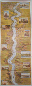 1920s RHINE RIVER GERMAN PANORAMA MAP COLOGNE TO MAINZ 5ft LONG LEPORELLO VIEW