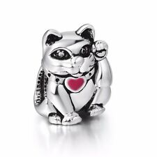 Fortune Lucky cat  silver charms bead Fit European Bracelet/Necklace Chain
