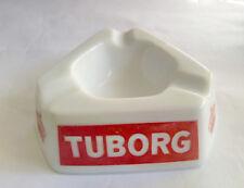 Tuborg Beer White Glass Advertising  Ashtray Made in France