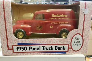 Ertl Budweiser 1950 Red Panel Truck New Clydesdale Horses Bank Truck. (11N)