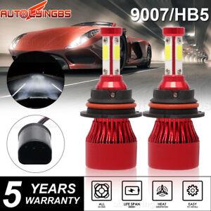 Pair 4-sides 9007 LED Headlight Bulbs Kit 6000K White High Low Beam Light Bulb