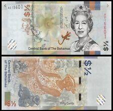 Bahamas 1/2 Dollar 2018/2019, P-New, Queen Elizabeth Ii, Unc World Currency