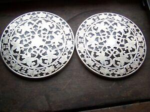 """2 sterling silver & glass 6"""" Webster floral hotplates trivets"""