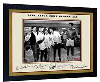 THE BEATLES and Muhammad Ali signed autograph Music Art pre-print poster Framed