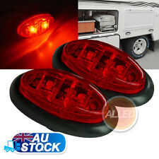 2X12V Red LED Mini Oval Side Marker Clearance Light Indicator Trailer Truck Lamp