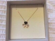 Gold necklace (14k) with black clover design