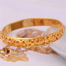 Exotic flower carved Chic 14k real Gold Filled Bangle party bracelet Delicate