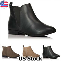 Women's Chelsea Ankle Boots Ladies Winter Casual Low Heel Slip On Shoes Size 6-9