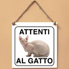 Don Sphynx 2 Attenti al gatto Targa gatto cartello ceramic tiles
