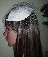 "Ivory Juliet cap lace motif with 9"" birdcage veil french net, Bridal facsinator."