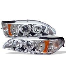 Projector Head Lights Lamps 1PC Ford Mustang 1994-1998 HALO LED - Chrome