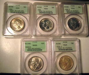 LOT OF 5  DIFF.BOONE COMMEMORATIVE HALF DOLLARS~PCGS OGH MS64-65~GEMS UPGRADABLE