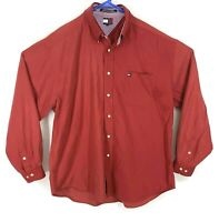 Vintage Tommy Hilfiger Mens (Size XL) Red Button Down Long Sleeve Shirt Pocket