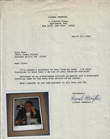 Lionel Hampton signed thank you note!  Jazz great!