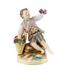 Volkstedt German Porcelain Figurine Young Boy w/ gilt and soft pink jacket