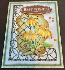 Best Wishes - Gold embossed Flowers - handmade card BY DEE