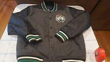 Vintage Boston Celtics Varsity Faux Leather Jacket Throwback Medium M Letterman