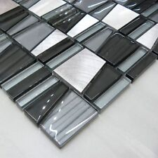Trio Black & Silver Mosaic Walls Floors Tiles Sheet Bathroom 30cm x 30cm