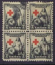 US:1931 2c Red Cross (702) Blk of 4 with extreme wandering cross. (09)