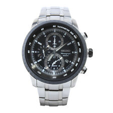 Seiko SNAB51 P1 Silver Black Dial Chronograph Tachymeter Men's Quartz Watch