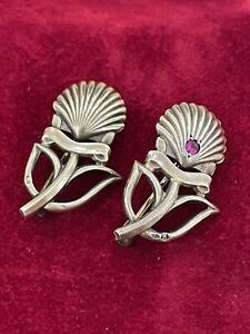 Cartier Vermeil Shell Brooch Pins - Set Of Two