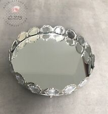 Spiegeltablett Metall Tablett Spiegel Deko ∅ 27,5 cm
