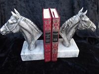 Two Horses Bookends Figurine VINTAGE silver plated and marble.