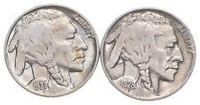 5c Buffalo Nickels - Great Detail in Buffalo Horn - 1937 & 1928 - Sweet! *117