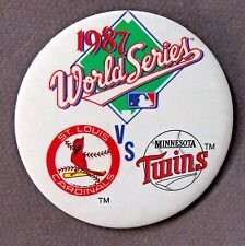 "1987 WORLD SERIES ST. LOUIS CARDINALS vs MINNESOTA TWINS 3"" pinback button"