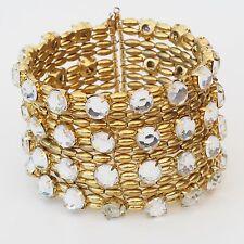 Neu METALL ARMREIF Armspange mit STRASSSTEINE in goldfarben/kristallklar ARMBAND