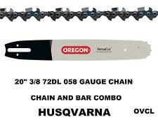 "GENUINE OREGON 20"" CHAINSAW BAR & CHAIN COMBO  HUSQVARNA 3/8 72DL .058 F/CHISEL"
