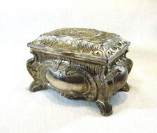 Vintage Rose & Flower Design Silver Plate Trinket/Jewel Box