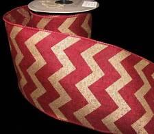 "10 Yds Darker Red Gold Chevron Stripes Zig Zag Christmas Burlap Wired Ribbon 4""W"