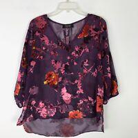 Renee C. Purple Velvet Floral Sheer VNeck Hi Low Blouse - Large L