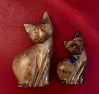 2 Vintage Mid Century Modern MCM Cat Figurines 1950s Sphynx Cats Teak Wood-Rare