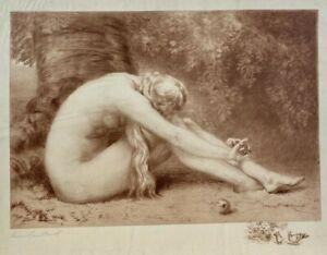 Original Anna Lea Merritt Etching of Eve, 1887