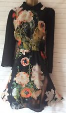 TED BAKER ISE Size 4 12 14 Opulent Bloom Black Floral Dress Collar Party NEW **