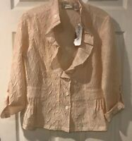Chicos  Crinkle  Rippled Sheen 3/4 Jolena Jacket size 0 NEW Pale Peach