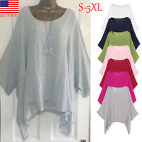 Women Casual Plus Size Loose Cotton Linen Short Sleeve Tops T Shirt Blouse S-5XL