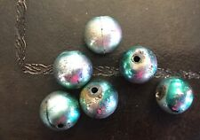 Vintage Mardi Gras Metallic Silver w Green Tonal Coated Round Lucite Bead Lot