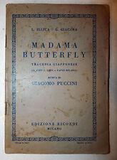 Libretto Teatro Opera - Illica Giacosa Puccini: Madama Butterfly 1942 Ricordi
