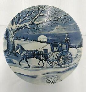 "Metal Round Tin Blue Horse Drawn Carriage 7.25"" Vintage Storage Organization"