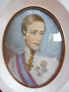Belle,vieux Miniature __ Kaiser Franz Josef V.Autriche __ Peinture sur Loupes __