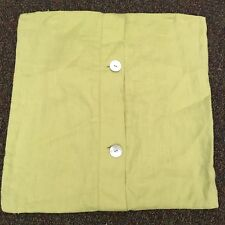 "Pottery Barn Lime Green Solid Throw Pillow Cover Big Button 18"" X 18"" 100% Linen"